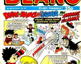 50 X 35 Mm Double Sided Keyring Beano Dandy Comic Covers