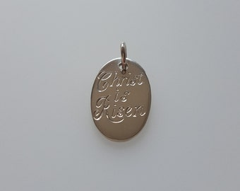 Christ is Risen Oval Pendant Charm in .925 Sterling Silver