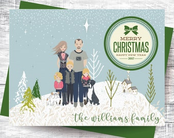 Personalized Christmas Card - Family Portrait - Printable Art, Digital Download, Custom Illustration