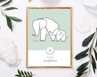 Contemporary Elephant Print, Modern Elephant Art, Alphabet Print, Geometric Animal Art, Origami Wall Art, Elephant Nursery, Elephant Kids