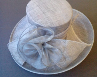 Large Up Brim Sinamay Hat W/ Floral Satin Center