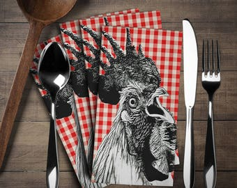 Rooster Napkin Set (4 pieces), Rooster Decor, Rooster Linen Set,Napkins Cloth Set,Napkins,Have  fun in your kitchen or at tea time!