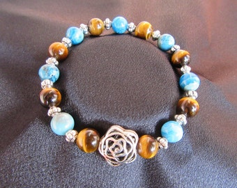 Soothing and Balancing Natural Gemstone Bracelet with Blue Crazy Lace Agate and Tiger's Eye