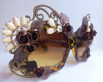 Spiral Floral Sunglasses - Tortoiseshell Rhinestone Sunglasses - Brown Oversized Sunglasses - Embellished Sunglasses - Spring Eyewear