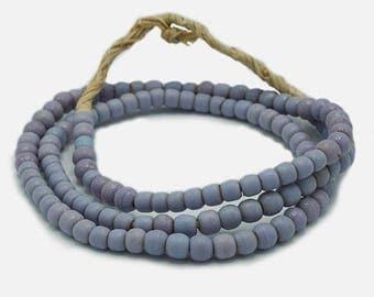 120 Vintage Matte Periwinkle Blue Kenya Turkana and Maasai Beads (5mm) - Vintage African Trade Beads - Old Tribal Glass Beads (47-KEN-TUR)