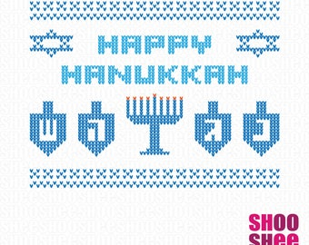 Hanukkah Ugly Christmas Sweater SVG cutting file with Menorah and Dreidels - Svg - Png - Eps - Dxf