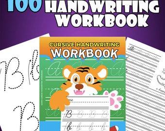 100 Pages of Practice Cursive Handwriting Workbook Printable Worksheets for Cursive Practice - Instant Download Book Activity Kids