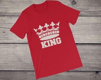 King T-Shirt crown King Queen couple shirts men's tee Short-Sleeve Unisex T-Shirt tshirt tee