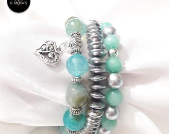 Cyan stone bracelet stack