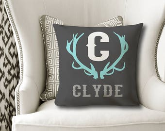 Boy Antler PILLOW, Rustic Nursery Decor, Deer Antler Name Pillow, Antler Initial Pillow, Boy Name Pillow, Pillow Cover or With Insert