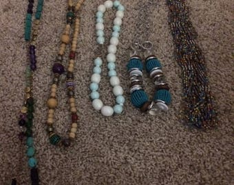 Unique beaded necklaces-set of 5