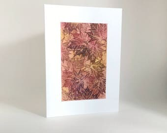 Maple tapestry no. 4 blank card, individually handmade: A7, notecards, fine card, maple, SKU BLA71004