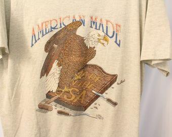 Vintage 1992 American Made Eagle Tee - L
