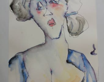 Blue Woman in the mirror-watercolour N. 25-2009