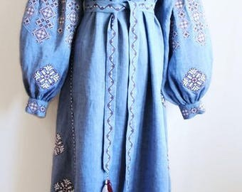Long embroidered Dresses Bohemian Clothes Ethnic Ukraine Embroidery Vyshyvanka Dress Custom Boho Clothing Vishivanka Blue Denim Linen