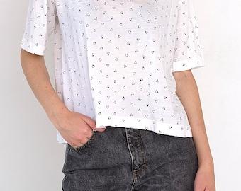 VINTAGE White Triangle Short Sleeve Retro T-Shirt