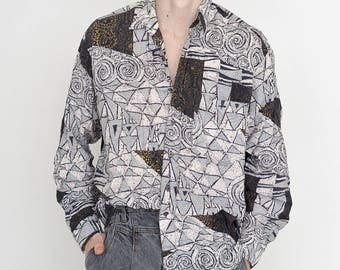 VINTAGE White Triangle Patterned Long Sleeve Button Downs Retro Shirt