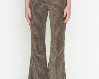 VINTAGE Grey Khaki Corduroy High Waisted Wide Leg Retro DOLCE VITA Trousers
