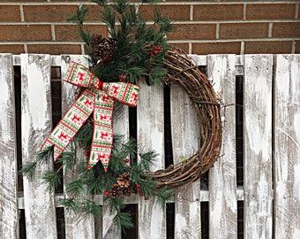 Christmas Sweater Bow Wreath
