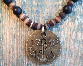 Steam Punk Anchor Tag Necklace with Tibetan stripped Agate and onyx.
