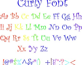 Curly Font alphabe Svg / Eps / Dxf / files INSTANT DOWNLOAD!