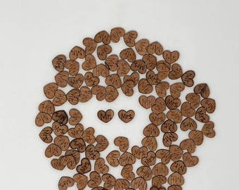 "100 PCS ""Mr"" & ""Mrs"" Wood Heart Confetti"