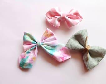 spring tropical bow set - suede bow - spring floral bow- hair bow set - nylon headbands - headband set - striped bow