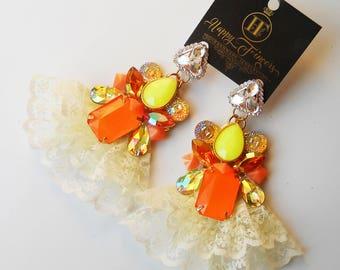 Orange earrings Earrings with lace Statement Earrings OOAK earrings Lace earrings New Fashion Unique earrings Lace jewelry Handmade