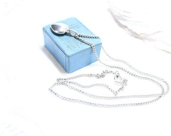 Vintage Delicate Puffy Heart Pendant Necklace, Sterling Silver Pendant Necklace, 925 silver pendant, Vintage Necklace-N0045
