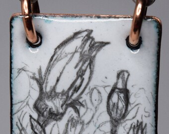 Field of Daisies Sketched Enamel Pendant