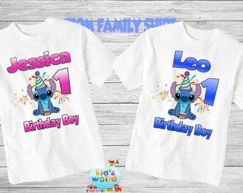 Lilo and stitch birthday shirt,Custom shirt ,personalized lilo and stitch Mouse Shirt, family shirt,birthday shirt. d39