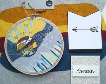 Embroidered picture / sailor / city motif / Szczecin / unique gift / marine / Poland