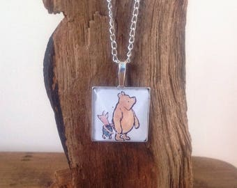 Winnie the Pooh and Piglet, Square sterling silver plated Pendant, incorporating vintage 1992 illustration