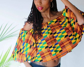 Off-the-Shoulder Ankara/Kente Top