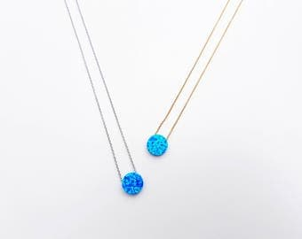 opal disc necklace, blue opal necklace, delicate necklace, sterling silver, vermeil gold necklace, round opal jewelry