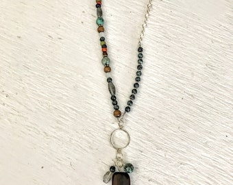 Asymmetrical Beaded Necklace, Boho Necklace, Bohemian Jewelry, African Turquoise Necklace, Gemstone Necklaces for Women, Mothers Day Gift