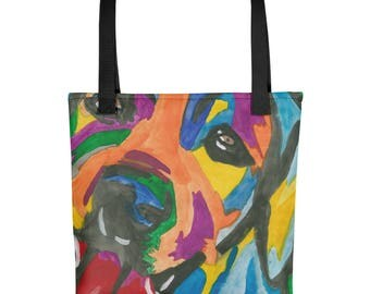 Rainbow Dog - Amazingly beautiful full color tote bag with black handle featuring children's donated artwork.