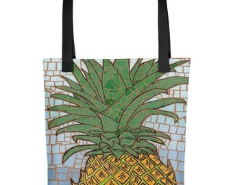 Pineapple Mosaic - Amazingly beautiful full color tote bag with black handle featuring children's donated artwork.