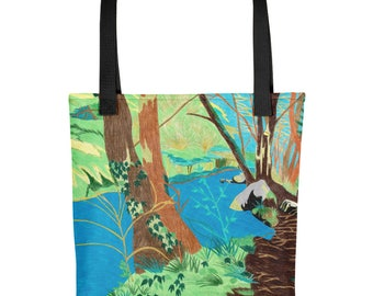 The Wissahickon Creek - Amazingly beautiful full color tote bag with black handle featuring children's donated artwork.
