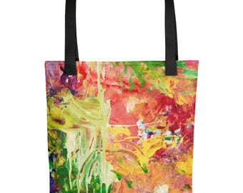 Color Drips - Amazingly beautiful full color tote bag with black handle featuring children's donated artwork.