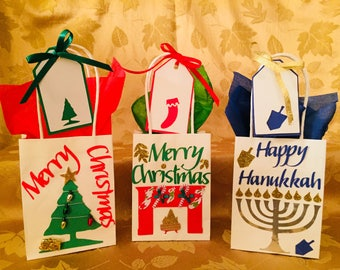 Christmas Gift Bags, Hanukkah Gift Bags, Gift Card Bags, Mix & Match, 4 Bag Minimum Order,Continuous Availability, Free Shipping (1st class)