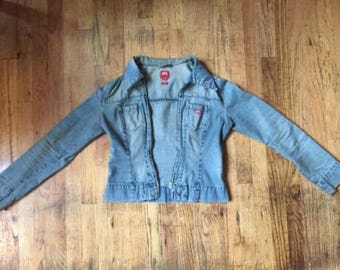 Indie Blue Denim Jeans Jacket with Red Patch Detail [THANKSGIVING SALE]