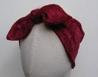 Knotted headband panne Velvet