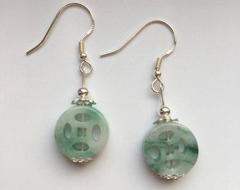 Chinese Jade Donut Earrings Jade Dangle Earrings Jate Round Earrings 925 Sterling Silver Earrings Chnese ancient coin