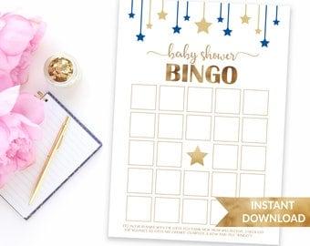 Navy blue Baby Bingo | Printable blue baby shower games | Twinkle twinkle little star baby shower | Printable Baby boy blue theme shower