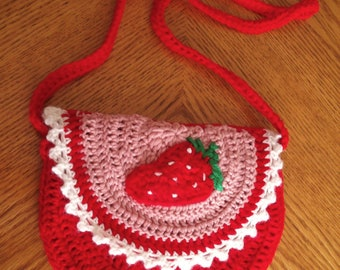 Kids crochet strawberry handbag