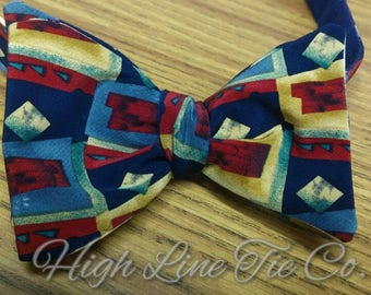 Handmade Silk Self-tie Bow Tie made from a vintage necktie