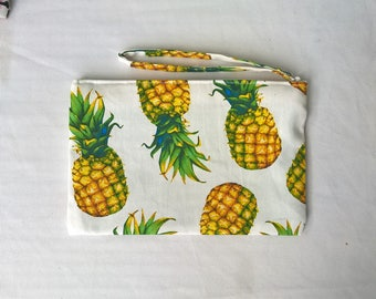 Tropical Pineapple print clutch, purse