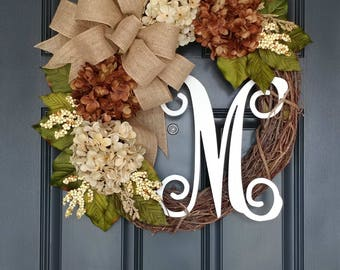 Hydrangea Wreath,Year Round Wreath,Grapevine Weath,Spring Wreath,Door Wreaths ,Front Door Wreath,Door Decoration,Wreath for Door,Wreath