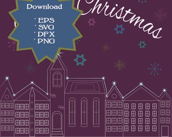 Only 50 cents-svg-Christmas clipart-lettering, houses, stars, snowflakes